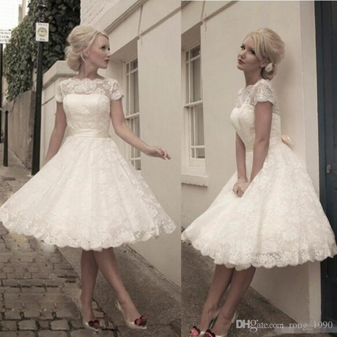 1950's Style Short Wedding Dresses Bateau Lace Ribbon Cover Button Inside Luxury 1950S Wedding Dresses Ty4