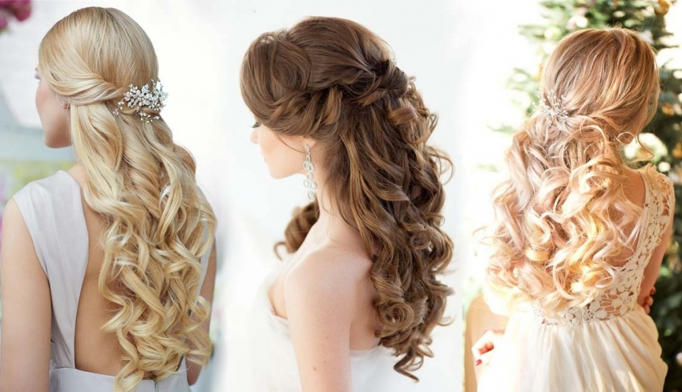 20 Half Up Half Down Wedding Hairstyles | Roses & Rings Pertaining To Wedding Half Up Half Down Hair