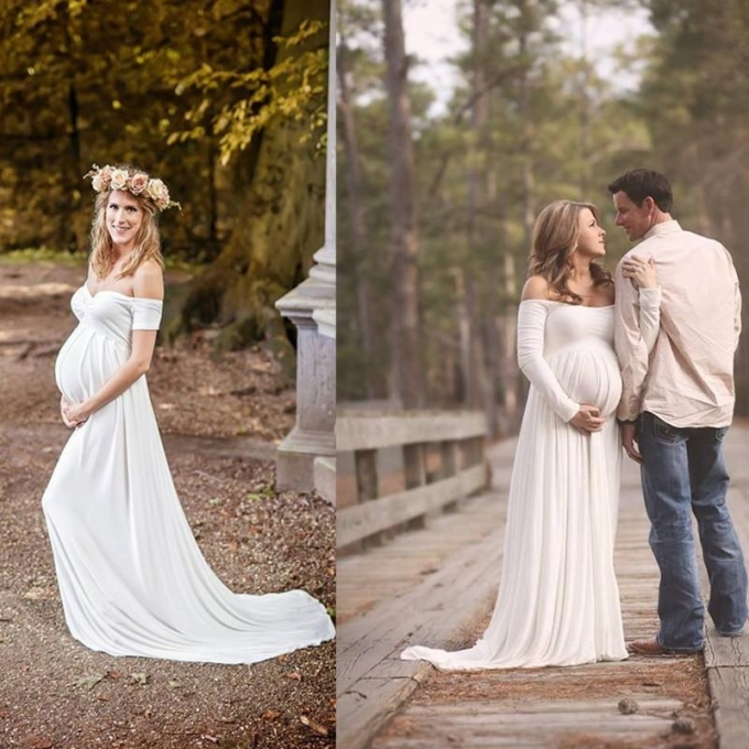 2016 Maternity Wedding Gowns Empire White Soft Chiffon Off The Pertaining To Fresh Pregnancy Wedding Dresses Dt3