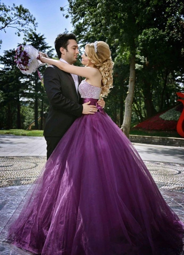 2016 New Fashion A Line Strapless Purple Wedding Dress Tulle With With Elegant Purple Wedding Dresses Df9
