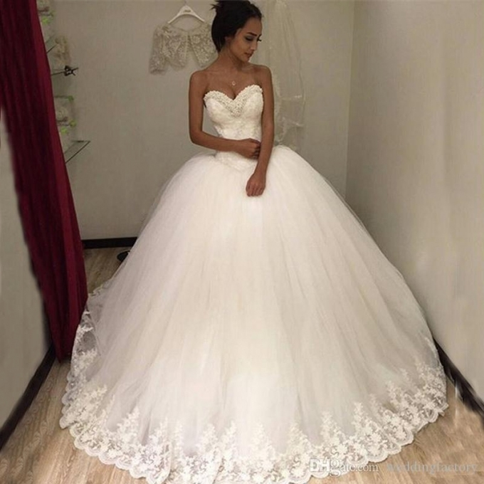 2017 Puffy Tulle Ball Gown Wedding Dresses Beaded Sweetheart With Regard To Princess Style Wedding Dresses