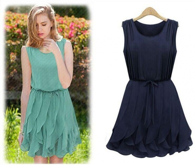 2018 2015 Hot Sale New Womens Summer Casual Dress Ruffles O Neck Intended For Dresses For Sale