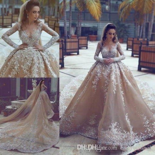2018 New Beading Ball Gown Wedding Dresses Online With Rhinestones For Bridal Dresses Online