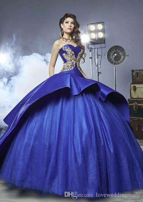 2018 Regency Masquerade Ball Gown Royal Blue Wedding Dresses Gold Regarding Royal Blue Wedding Dresses