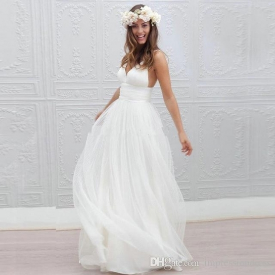 2018 Sexy Backlesss Sweetheart White Beach Boho Wedding Dress Custom Throughout Bohemian Style Wedding Dresses