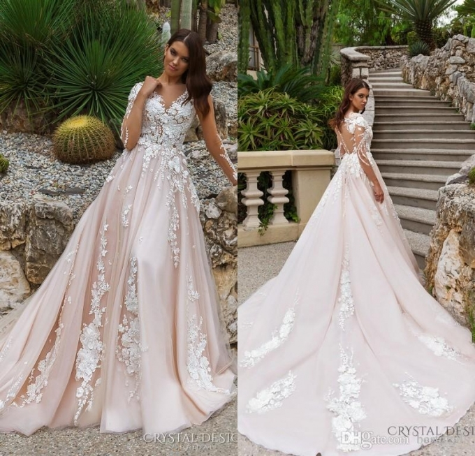 2018 Stunning Designer A Line Wedding Dresses Illusion Neckline Intended For Bridal Gown Designers