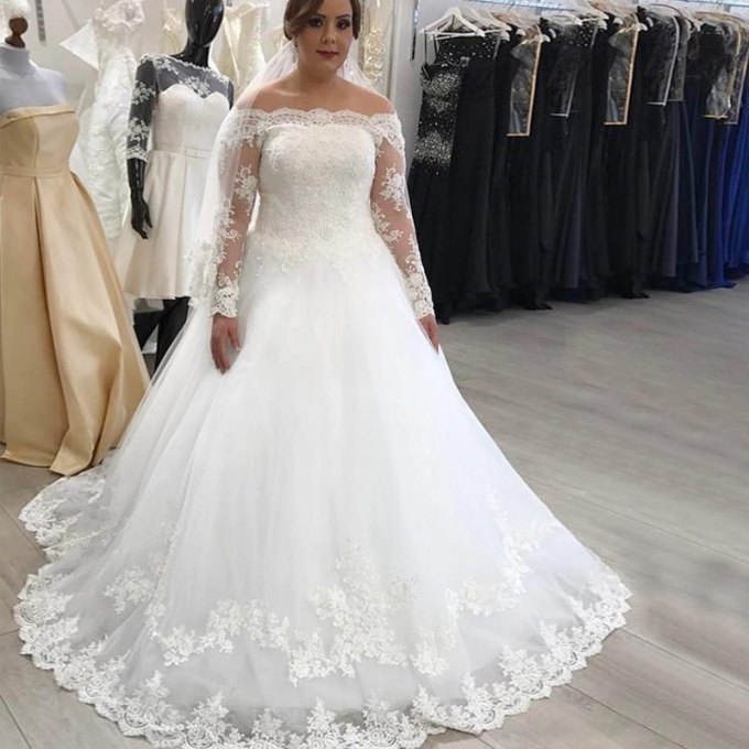 A Line Off The Shoulder Long Sleeves Plus Size Wedding Dress For Plus Size Wedding Dresses With Sleeves