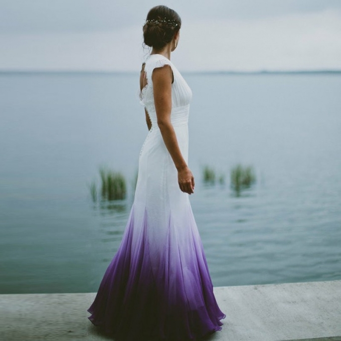 A Line V Neck Open Back Ombre Purple Chiffon Wedding Dress With Lace Inside Purple Wedding Dresses