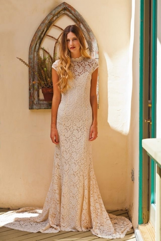 Lovely Simple Lace Wedding Dress kls7