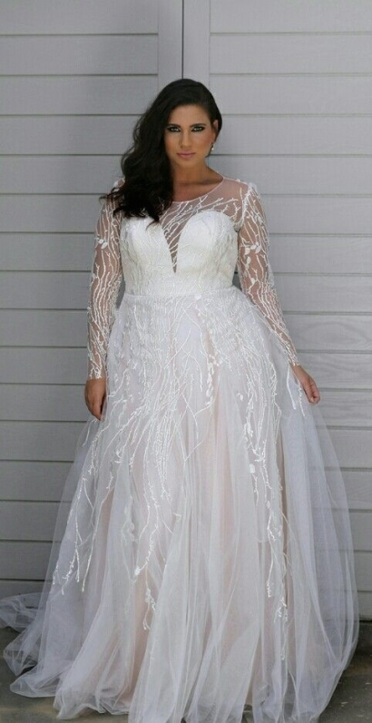 All In This Plus Size Wedding Gown Is About That Unique Lace And For New Plus Size Wedding Dresses With Sleeves Df9
