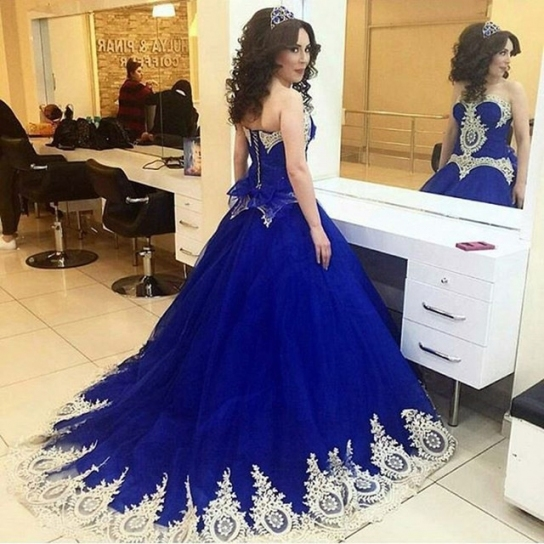 Ball Gown Royal Blue Wedding Dresses Appliques Lace Wedding Gowns Regarding Unique Royal Blue Wedding Dresses Kc3