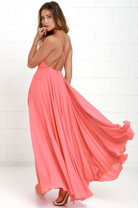Beautiful Coral Pink Dress   Maxi Dress  Backless Maxi Dress Within Coral Dress For Wedding