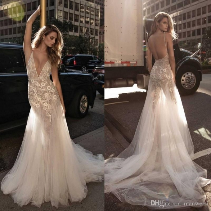 Berta 2017 Mermaid Backless Wedding Dresses Plunging Neckine Lace With Regard To Lace Backless Wedding Dress