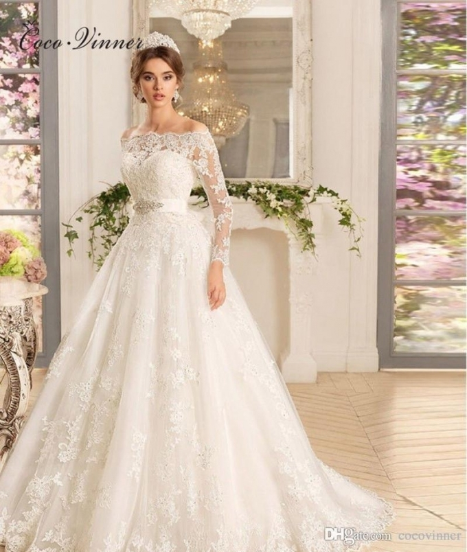 C.v Arab Muslim Long Sleeve Elegant Wedding Dresses New Boat Neck Pertaining To Beautiful Elegant Wedding Dresses Sf8