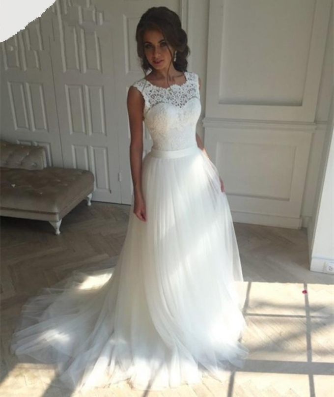 Discount Boat Neck White Cheap Boho Chic Wedding Dress Wedding Gowns Intended For Lovely Bohemian Style Wedding Dresses Ty4