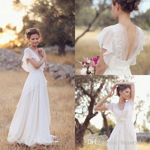 Discount Bohemian Hippie Style Wedding Dresses 2017 Beach A Line For Lovely Bohemian Style Wedding Dresses Ty4