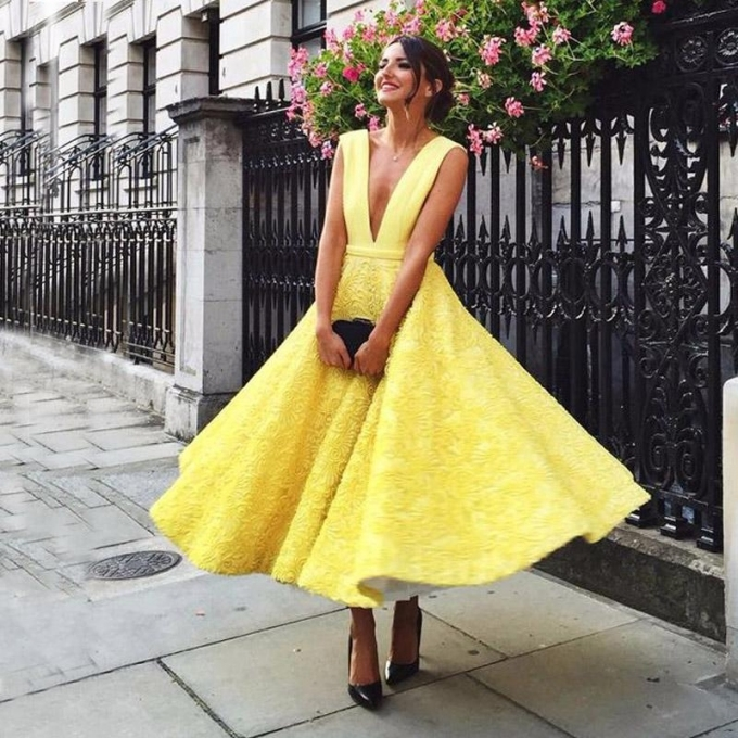 Discount Fabulous Wedding Guest Dress Light Yellow Sexy Plunging Inside Elegant Dresses For A Wedding Guest Kc3