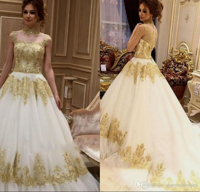 Elegant White And Gold Wedding Dress dt3