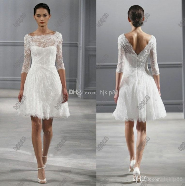 Discount Illusion Bateau Neck 3/4 Sleeves Monique Lhuillier Spring Throughout Luxury Short Wedding Dresses With Sleeves Kc3