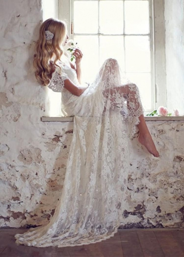 Discount Mansa 2015 Vintage Lace Wedding Dress With Cap Sleeves Pertaining To Vintage Lace Wedding Dresses