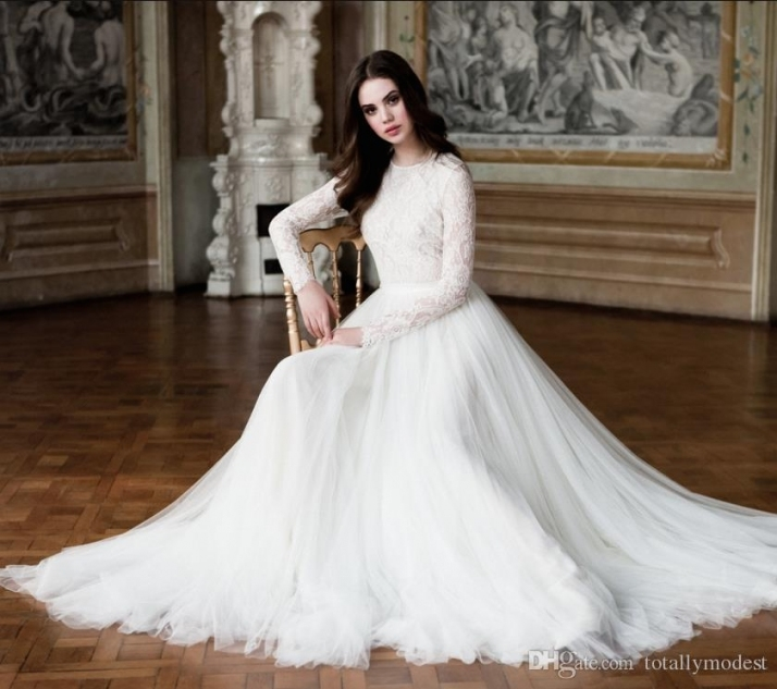 Discount Modest Wedding Dresses 2017 Long Sleeves A Line Lace Tulle Intended For Modest Wedding Dresses With Sleeves