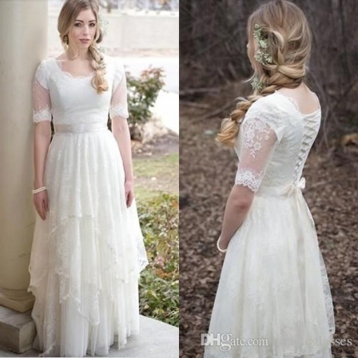 Discount New Modest Wedding Dresses With Sleeves 2017 Country Style Regarding Modest Wedding Dresses With Sleeves