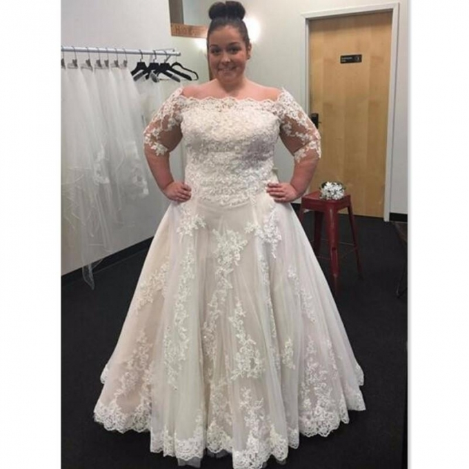 Discount Plus Size Wedding Dresses 2017 Lace Off The Shoulder Half In New Plus Size Wedding Dresses With Sleeves Df9