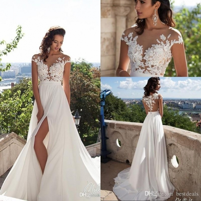 Discount Simple Elegant Chiffon Bohemian Wedding Dresses 2017 Sheer Inside Luxury Simple Wedding Dresses For The Beach Ty4