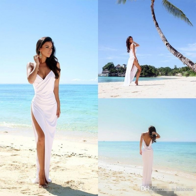 Discount Simple Sexy Open Back Beach Wedding Dresses Side Slit Within Simple Wedding Dresses For The Beach