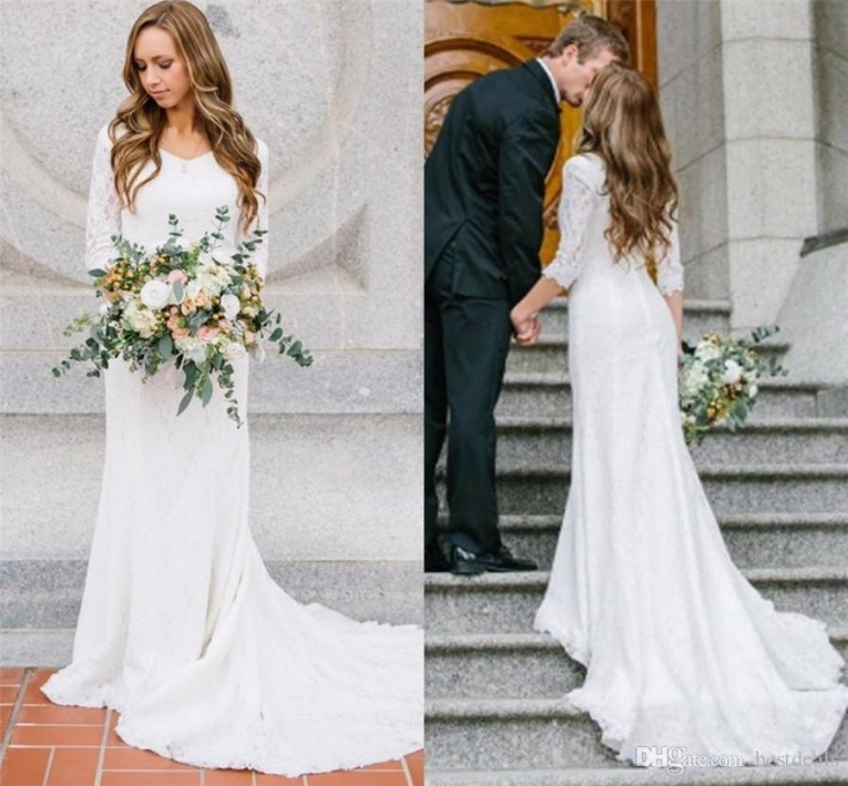 Discount Vintage Modest Wedding Dresses With Long Sleeves Bohemian Throughout Modest Wedding Dresses With Sleeves