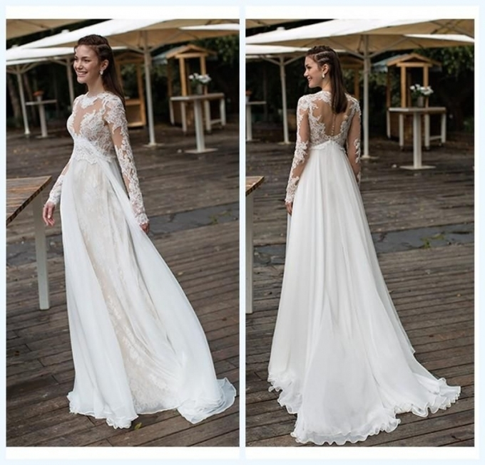 Empire Maternity Wedding Dresses Lace And Chiffon Long Sleeves Beach Pertaining To Fresh Pregnancy Wedding Dresses Dt3