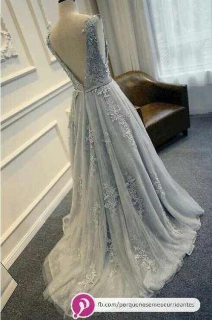 F120 Scoop Lace Appliques Beaded A Line Wedding Dress, Grey Lace Within Grey Wedding Dress