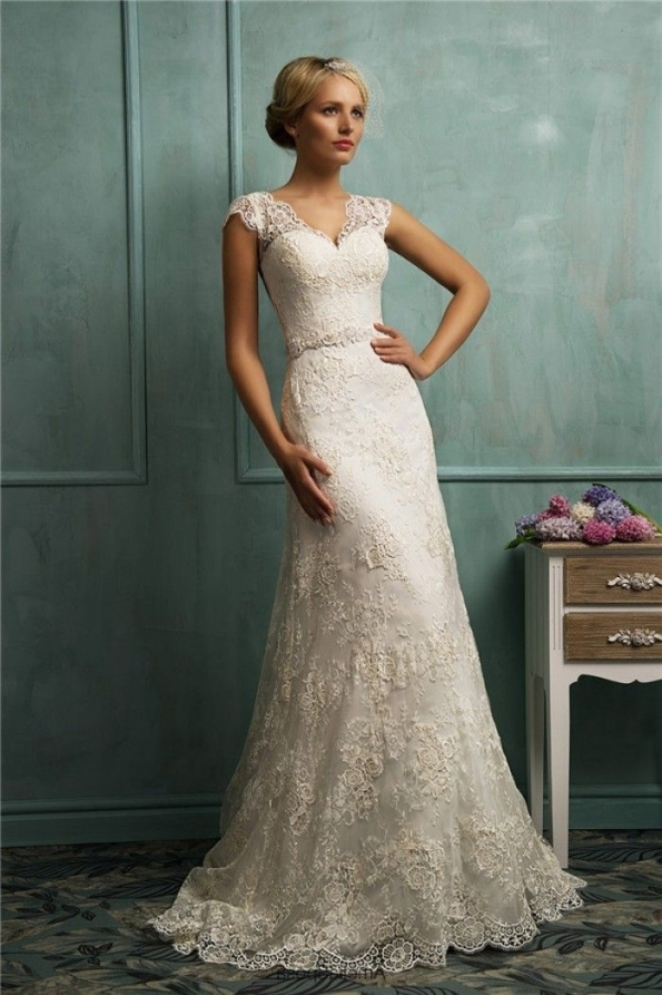 Fitted A Line Cap Sleeve Illusion Back Vintage Lace Wedding Dress For Vintage Lace Wedding Dresses