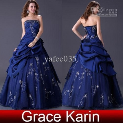 Großhandel Einzelhandel Ballkleid Royal Blue Wedding Dresses In Royal Blue Wedding Dresses
