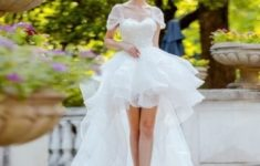 High Low Wedding Dress White Lace Princess Bridal Dress in High Low Wedding Dresses