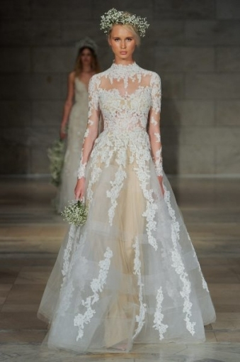 High Neck Long Sleeve Lace A Line Wedding Dress   Kleinfeld Bridal Intended For Long Sleeve Lace Wedding Dresses