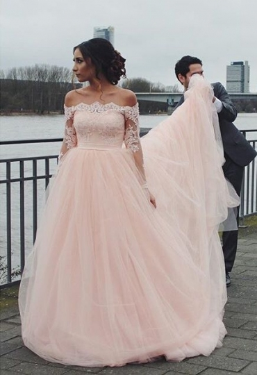 High Quality Wedding Party Dress   Light Pink Bateau Tulle With In Light Pink Wedding Dress