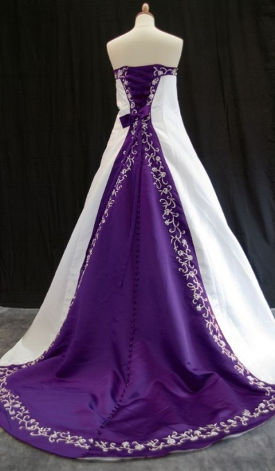 Ivory Or White And Colour Satin Wedding Dress   Juliet | Wedding Within Purple Wedding Dresses
