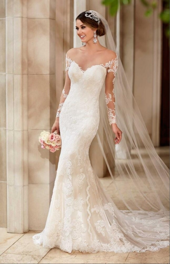 J159 Sexy See Through Top Lace Wedding Dress, Chapel Train Long For Elegant Wedding Dresses