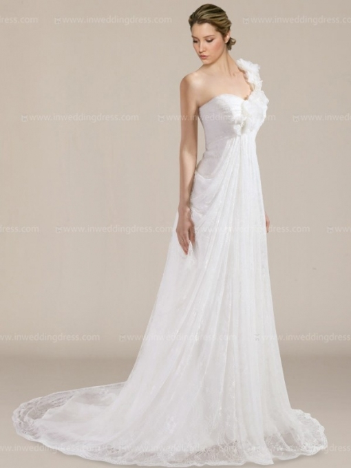 Lace One Shoulder Wedding Dress $259 Within Beautiful One Shoulder Wedding Dress Klp8