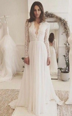 Lace Wedding Dress With Long Sleeves   Modest Bridal Gowns   June With Regard To Long Sleeve Lace Wedding Dresses