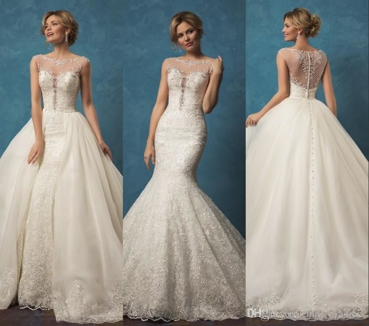 Lace Wedding Dresses With Mermaid Two Pieces Detachable Skirt Sheer In Awesome Detachable Wedding Dress Jk4