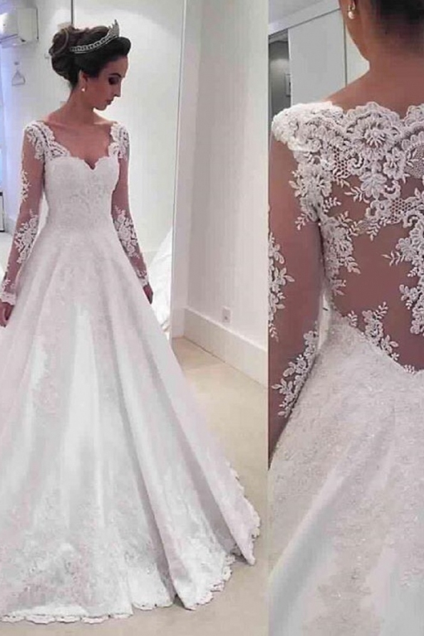 Long Sleeve V Neck 2018 Wedding Dresses Online Sheer Lace Back In Inspirational Bridal Dresses Online Klp8