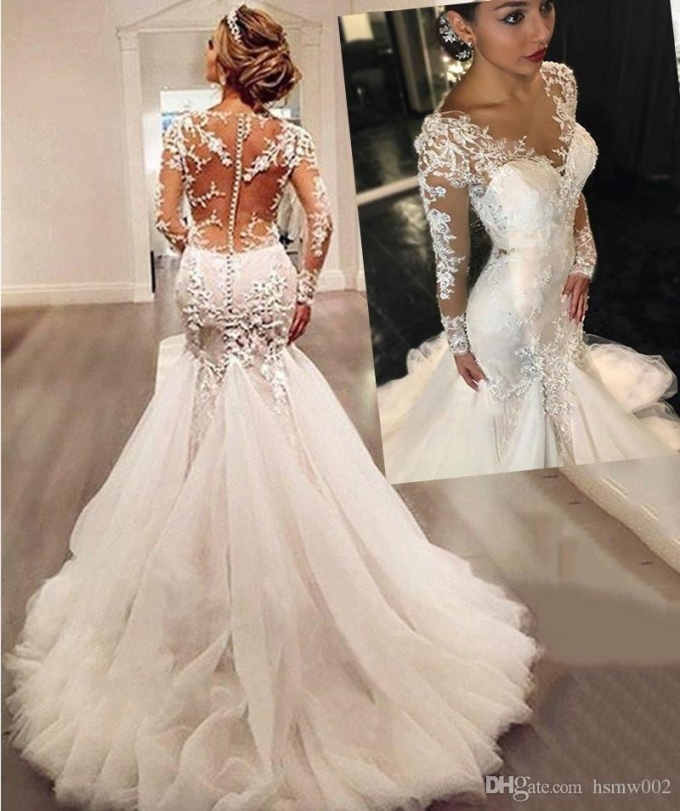 Long Sleeves Lace Appliques Beaded Mermaid Wedding Dresses 2018 Sexy Within New Custom Wedding Dress Df9