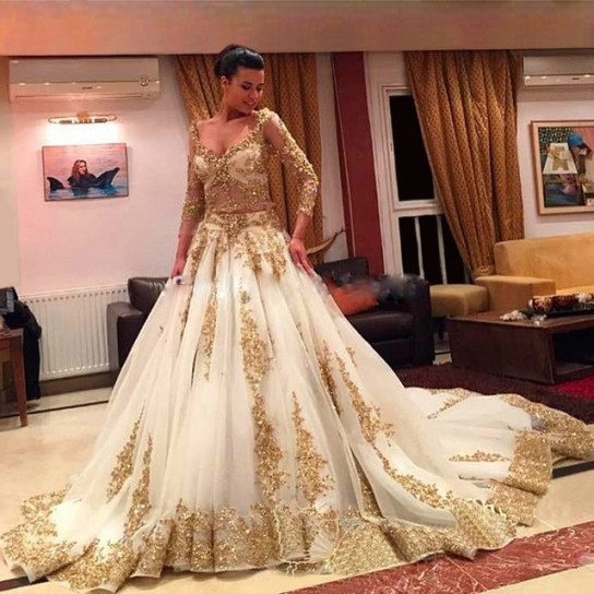 Luxury Long Sleeve White Gold Wedding Dresses With Long Train 2017 Pertaining To White And Gold Wedding Dress