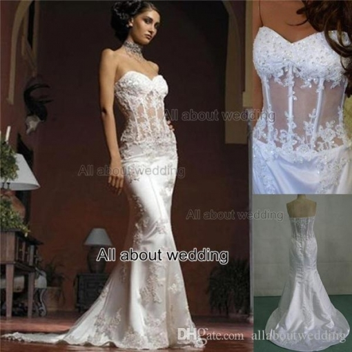 Mermaid Wedding Dresses Strapless See Through Corset With Lace with regard to Corset Wedding Dresses