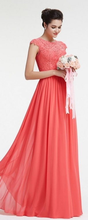 Modest Lace Coral Bridesmaid Dresses With Sleeves | Bridesmaid Regarding Fresh Coral Dress For Wedding Kls7