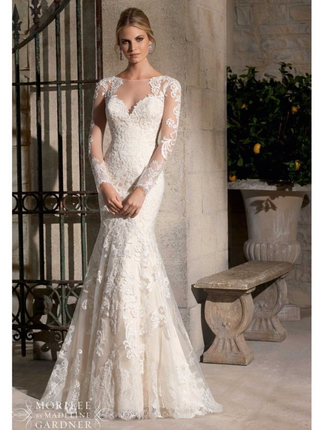 Mori Lee 2725 Long Sleeved Lace Wedding Gown Ivory Intended For New Long Sleeve Lace Wedding Dresses Df9