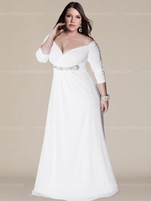 Off The Shoulder Plus Size Wedding Gown With Sleeves Within New Plus Size Wedding Dresses With Sleeves Df9