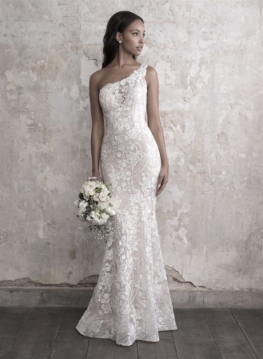 One Shoulder Lace Fit And Flare Wedding Dress | Kleinfeld Bridal Pertaining To Beautiful One Shoulder Wedding Dress Klp8